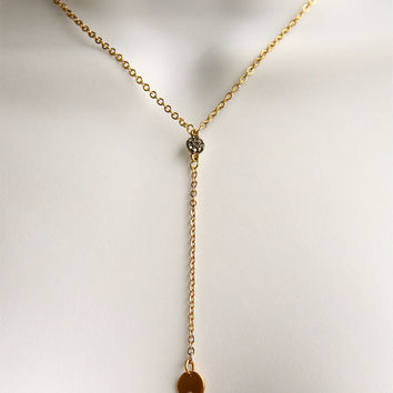 Gold Diamond Y Disc Neckace, Gold Diamond disc necklace, Gold Y necklace, Diamonds Gold necklace