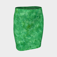 Green swirls doodles Fitted Skirt Fitted Skirt