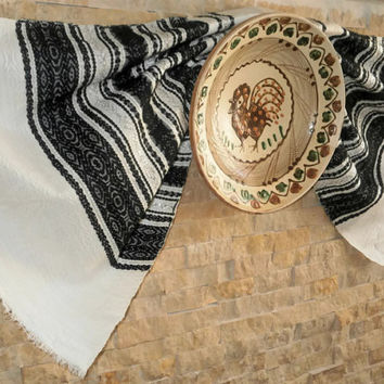 Bac and White Ethnic Traditional Loomed Towel from Bucovina Romania