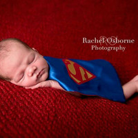 Infant Cape Infant Bib Photo Prop Reversible Cape Infant Superman Cape Baby Cape Newborn Cape Superman Bib  baby superman cape