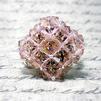 The Kaylee- Vintage Rose Swarovski Crystal and Peacock Rivoli Cocktail Stretch Ring