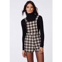 Missguided - Cate Checked Dungaree Playsuit Grey