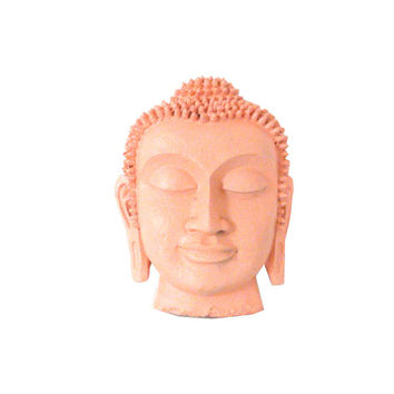 buddha head, buddha decor, wall hanging, buddha mask, wall decor, buddha wall art, coral, peach