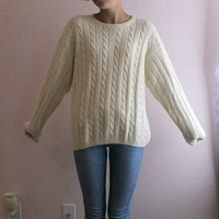 Womens Ivory Yellow Cable Knit Longsleeve Sweater