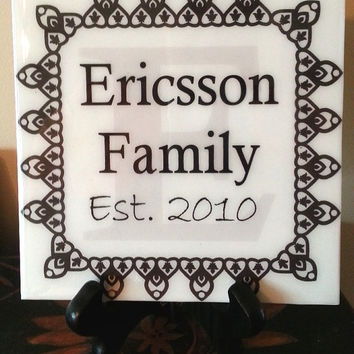 Personalized Family Wall Art, Family Name Art, Ceramic Tile Family Sign, Wedding Gift, Anniversary Gift, Family Est. sign,  Family Gift