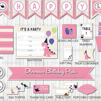 Dinosaur Themed Birthday, Printable Party Pack,DIY, Banner, Invitation, Favors, Cupcake Toppers, Decorations, Roar, Pink, Kid Party