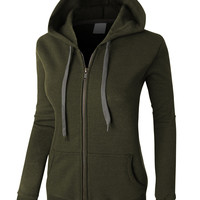 LE3NO PREMIUM Womens Vintage Zip Up Fleece Hoodie Jacket