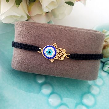 FREE SHIPPING - hamsa evil eye bracelet - evil eye jewelry - adjustable bracelet - charm bracelet - gold plated bracelet - turkish evil eye