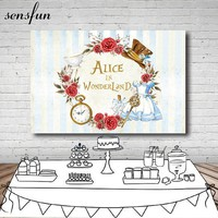 Sensfun Alice In Wonderland Party Backdrop Flowers Dress Stripes Girls Birthday Backgrounds For Photo Studio 7x5FT Vinyl