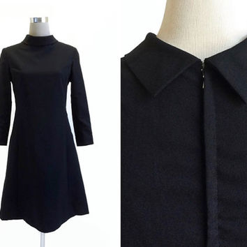 Black Crepe 1960's Dress - 60's Vintage Dress - LBD - Princess Seamed Metal Zipper Dress