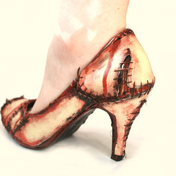 Rockabilly Halloween Witches Zombie flesh high heel court shoes (Lady gaga meat shoes)