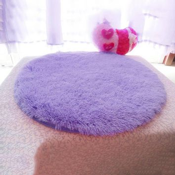 Living Room Bathroom Decor Anti-slip 40cm Diameter 4.5cm Thicken Round Floor Carpets  Circle Mat Rug  HG99