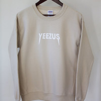Tan Kanye West Yeezus Tour Supersoft Crewneck Sweatshirt Sand Beige Hoodie Kourtney Kardashian outfit inspired