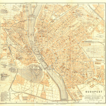 1907 City Map of Budapest, Hungary,  Karl Baedeker Street Plan