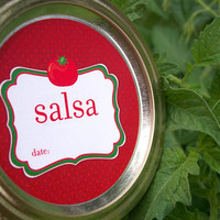 Cute Salsa Tomato Canning jar labels, 2 inch round red stickers for mason jars, for salsa, vegetable preservation