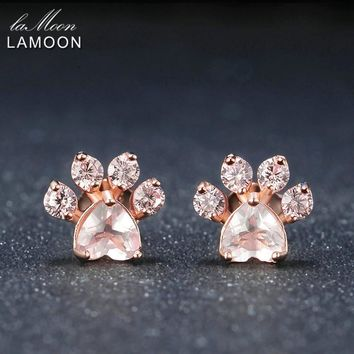 LAMOON Bearfoot 5x5.5mm 100% Natural Gemstone Rose Quartz 925 sterling-silver-jewelry Rose Gold Plated Stud Earring S925 LMEI040
