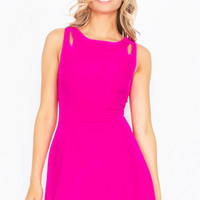 Shoulder Slices Fit and Flare Dress - Hot Pink