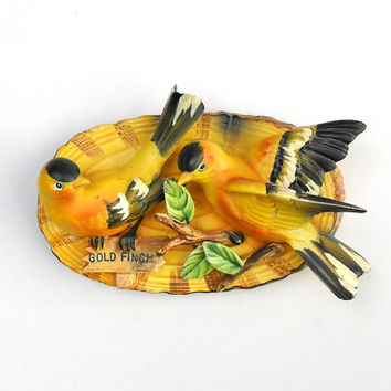 Vintage Norcrest Gold Finch Birds Wall Plaque 1960s Cottage Chic Cabin Decor Yellow Birds Wall Hanging Gift for Bird Lovers