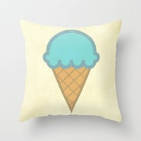 Cotton Candy Ice Cream Cone Throw Pillow by andrialou