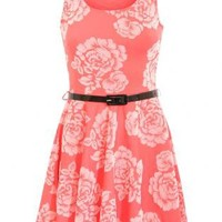 Pilot Mimi Flock Flower Skater Dress in Coral