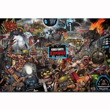 FX1350 Hot COD Black Ops 4 Call Duty 2018 Zombies 10 Years Video Game Poster Art Silk Light Canvas Home Room Wall Printing Decor