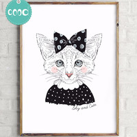 Portrait of Shy Cat Girl Canvas Art Print Painting Poster,  Wall Picture for Home Decoration,  Wall Decor FA404-4