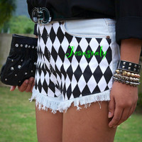 Levis high waisted denim shorts,Black and White print denim shorts,jeans shorts by Jeansonly