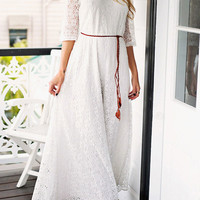 White Floral Lace Three Quarter Sleeve Maxi Dress