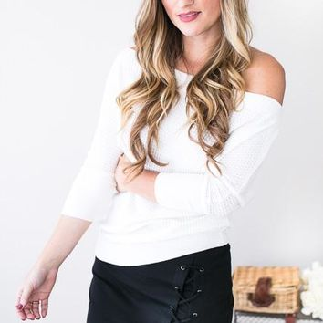 Come Out and Play Off Shoulder Waffle Knit Top