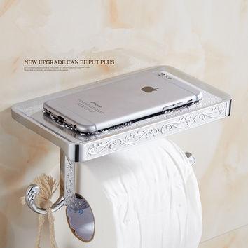 Shipping Toilet Roll Paper Holder W/ Mobile Phone Rack Wall Mounted No Cover Space Bathroom Accessories