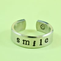 [♡061] smile Ring - Hand Stamped Aluminum Ring, Cute Gift, Be Happy Everyday