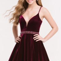 Alyce 3712 Velvet Dress with Beaded Waist and Straps