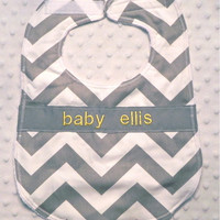 Personalized Bib - Gray Chevron