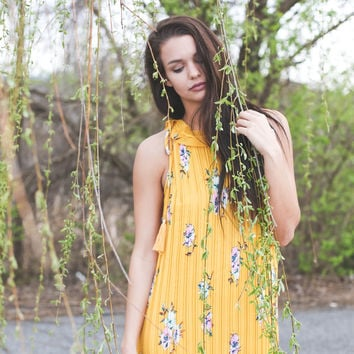 Spring Mix Pleated Maxi