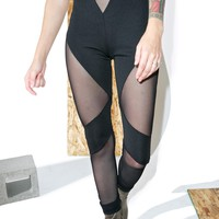 Black Mesh Cutout Leggings