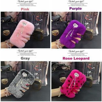 Genuine Rex Rabbit Fluffy Fur Phone Case for iPhone 4 4s 5 5s SE 6 6s 7 8 9 X XS Plus Luxuxy Bling Diamond Pendant Cover Fundas