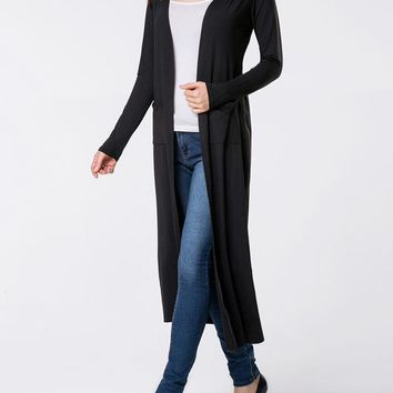 Casual Collarless Patch Pocket Plain Duster Cardigan