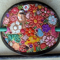 Leather Hair Barrette with Colorful Flowers and Butterfly Ladybug Bird Dragonfly Frog and Two Sticks