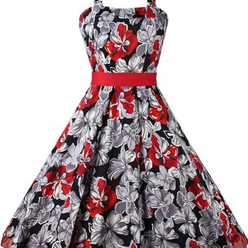 Casual Exquisite Halter Bowknot Skater Dress In Floral Printed
