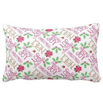 Pink and Green Christmas Greetings and Holly Throw Pillow
