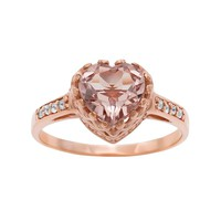 14k Rose Gold Over Silver Morganite Triplet & Lab-Created White Sapphire Heart Crown Ring (Pink)