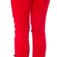 STEADY HIGH WAIST SWALLOW CAPRIS RED