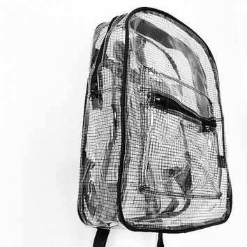 Clear Backpack Transparent Rucksack Black Grid Vinyl Travel School Bag