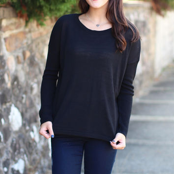 Our Time Basic Light Knit Sweater {Black}