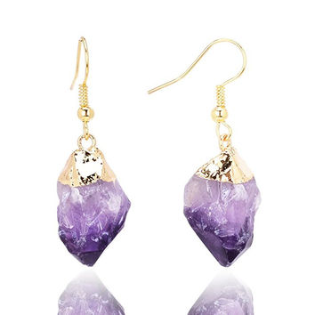Raw Amethyst Gold Plated Drop Earring For Women Gemstones Earring Jewelry
