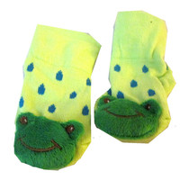 3D Green Frog with Green Dot Baby Sock ( Boy or Girl ) Non Skid