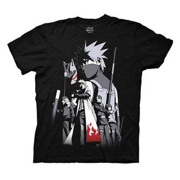 Naruto Kakashi Hatake Group Anime Manga Licensed Adult T-Shirt - Black - L