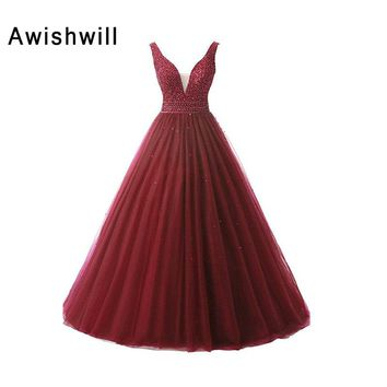 Real Photo Gorgeous V-neck Open Back Beadings Tulle Long Graduation Dress Vestido De Festa Ball Gown Prom Dresses 2018