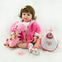 "20"" bebe doll reborn toys soft cloth body silicone reborn babies pink clothing set girl dolls toys xmas gift bonecas"