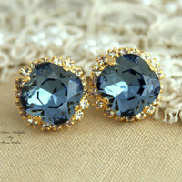Rhinestone stud Blue denim swarovski Crystal,christmas gift  - 14k plated gold post earrings real swarovski rhinestones.